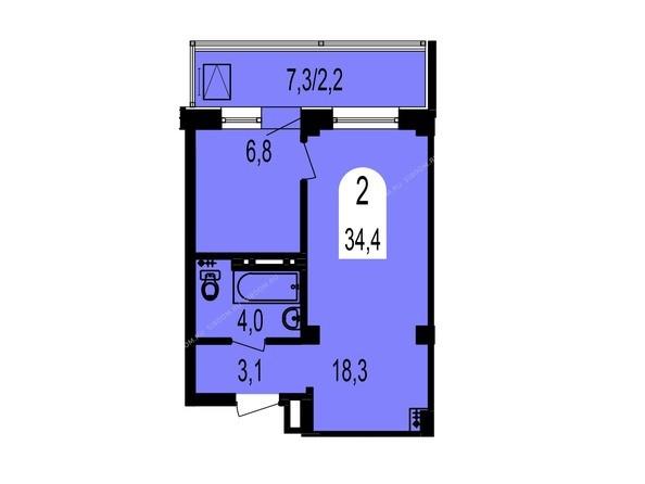 Планировки Жилой комплекс ТИХИЕ ЗОРИ, дом 1 (Красстрой) - Планировка двухкомнатной квартиры 34,4 кв.м