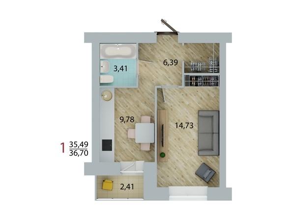 Планировка 1-комн 36,4, 36,7 м²