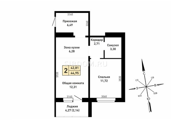 Планировка 2-комн 42,81, 44,95 м²