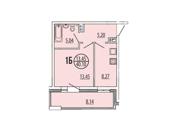 Планировка 1-комн 39,56 - 40,1 м²
