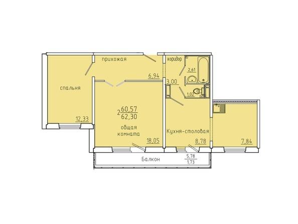 Планировки Жилой комплекс Иннокентьевский, 3 мкр, дом 6 - Планировка двухкомнатной квартиры 62,3 кв.м