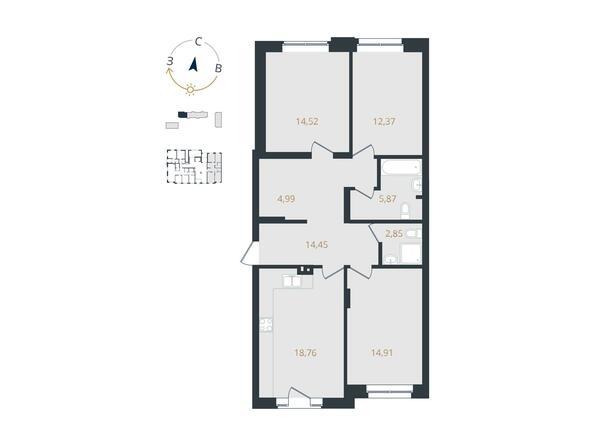 3-комнатная 88,72 кв.м