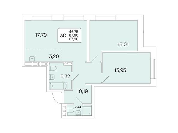 Планировка 3-комн 67,9 м²