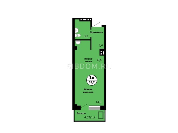 Планировка Студия 28,6 - 28,8 м²