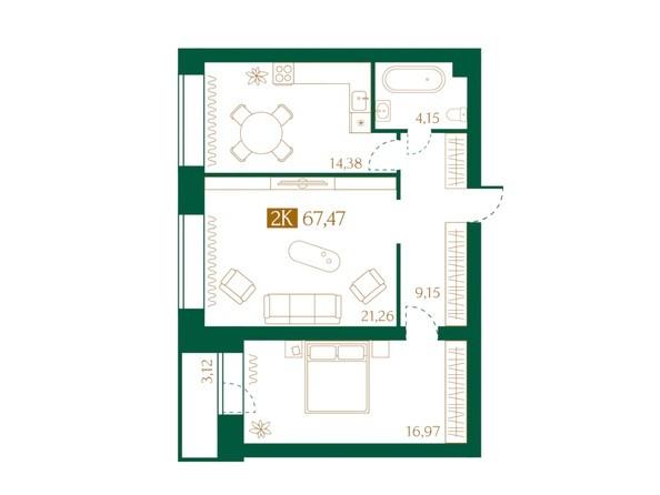 Планировка 2-комн 67,42 м²