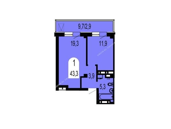 Планировки Жилой комплекс ТИХИЕ ЗОРИ, дом 1 (Красстрой) - Планировка однокомнатной квартиры 43,3 кв.м