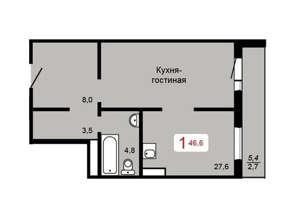 Планировка 1-комн 46,6 м²
