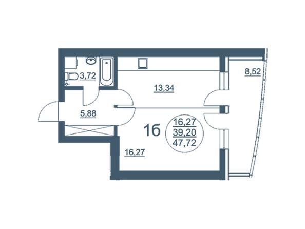 Планировки Жилой комплекс ФЛОТИЛИЯ - 1-комнатная 47,72 кв.м блок В