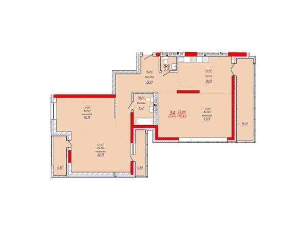 Планировки Жилой комплекс КЛАРУС-ПАРК - Планировка трехкомнатной квартиры 119,42 кв.м.