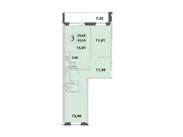 3-комнатная 63.24 - 62.65 кв.м