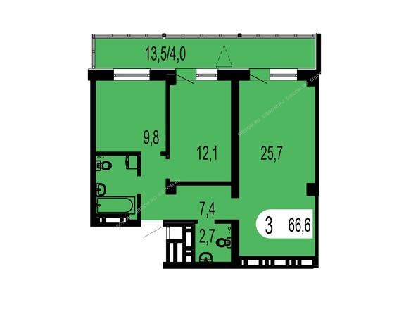 Планировки Жилой комплекс ТИХИЕ ЗОРИ, дом 1 (Красстрой) - Планировка трехкомнатной квартиры 66,6 кв.м