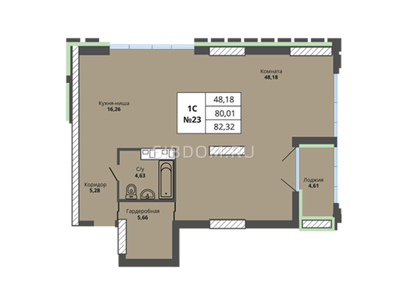 Планировки Жилой комплекс PRIME HOUSE (Прайм хаус) - Планировка однокомнатной квартиры 80,01 кв.м
