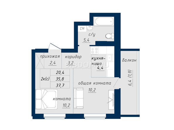 Планировка 2-комн 37,7, 42,2 м²
