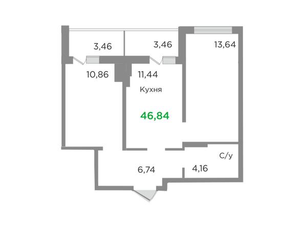 Планировки Жилой комплекс ЯСНЫЙ БЕРЕГ, дом 10, б/с 1-3  - Планировка двухкомнатной квартиры 46,84 кв.м