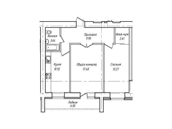 Планировки Жилой комплекс Антона Петрова, 221г - Планировка двухкомнатной квартиры 60,82 кв.м