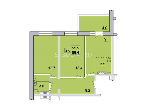 Планировка 2-комн 56,4 - 56,8 м²