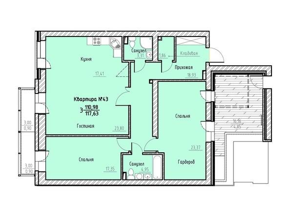 Планировка 3-комн 117,63 м²