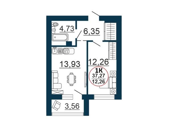 Планировка 1-комн 36,88 - 37,27 м²