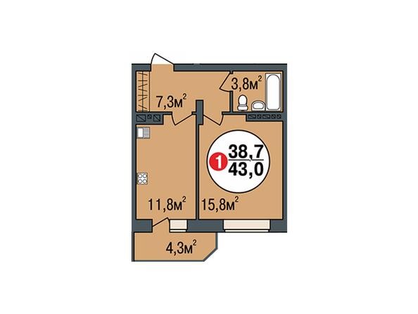 Планировки Жилой комплекс ПОКРОВСКИЙ, б/с 3, 4, 5 - Планировка однокомнатной квартиры 43 кв.м