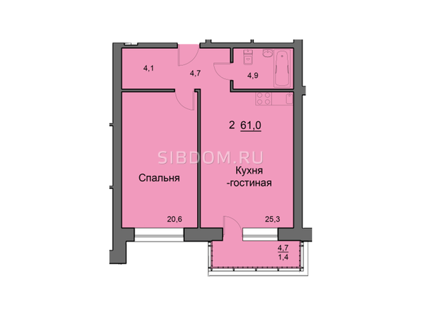 Планировки Жилой комплекс SKY SEVEN, б/с 8, 2 оч - Планировка двухкомнатной квартиры 61,2 кв.м