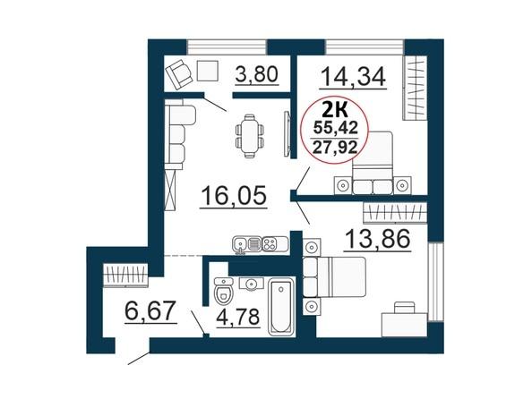 Планировка  0 - 56,03 м²
