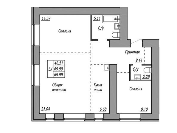 Планировка 3-комн 69,9, 69,99 м²