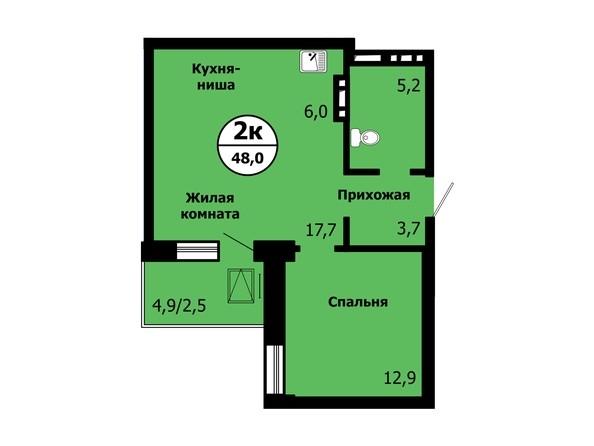 Планировка 2-комн 48 м²