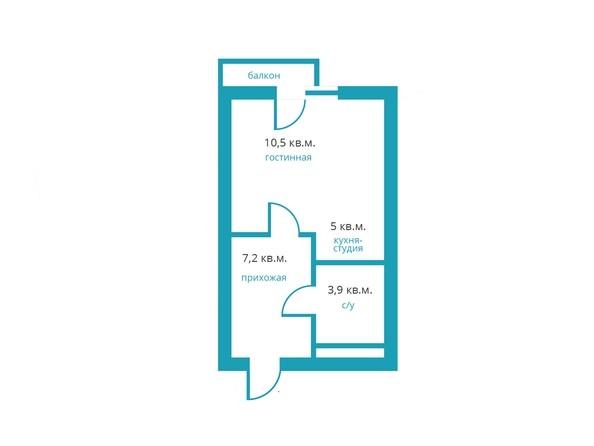 Планировка 1-комн 26,6 м²
