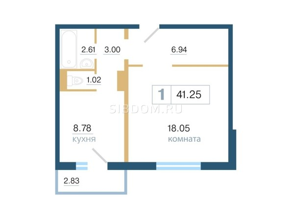 Планировка 1-комн 41,25 м²