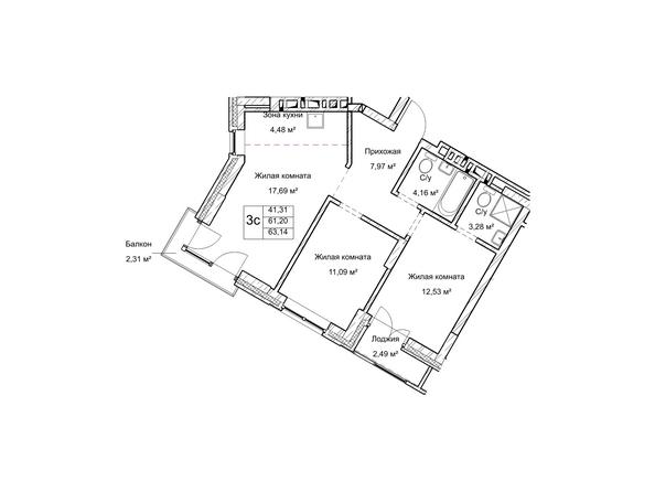 Планировки Жилой комплекс ГУДИМОВ - Планировка трехкомнатной квартиры 61,2 кв.м