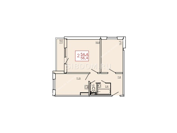 Планировки Жилой комплекс КУРЧАТОВА, дом 6, стр 2 - Планировка двухкомнатной квартиры 56,4 кв.м. Этажи 10-16
