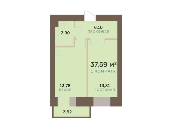 Планировка 1-комн 37,59 м²