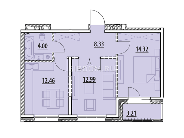 Планировка 2-комн 0 - 55,31 м²
