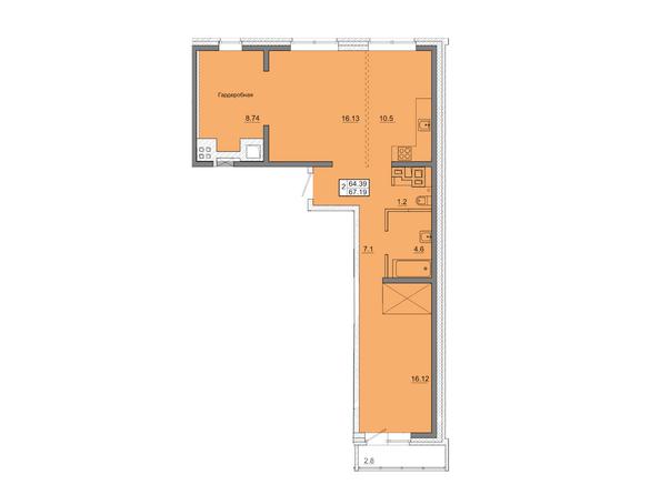 2-комнатная 67,19 кв.м