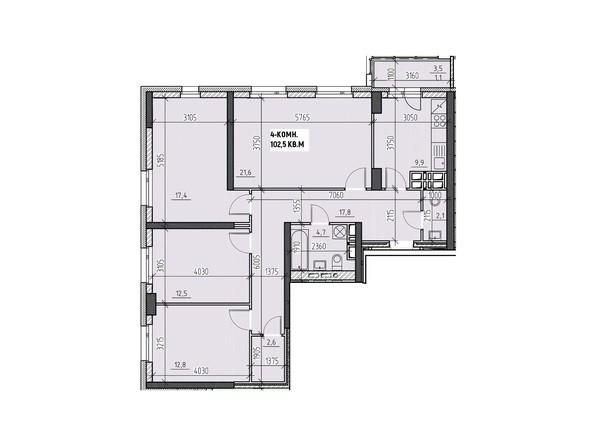Планировки Жилой комплекс НА ВЫСОТЕ, 2 этап - Планировка четырехкомнатной квартиры 102,5 кв.м