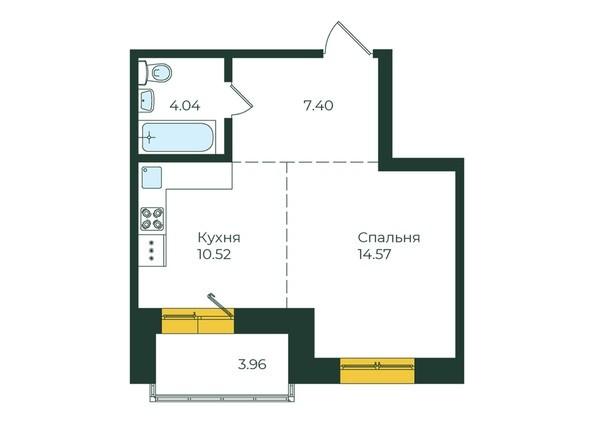1-комнатная 40,49 кв.м.