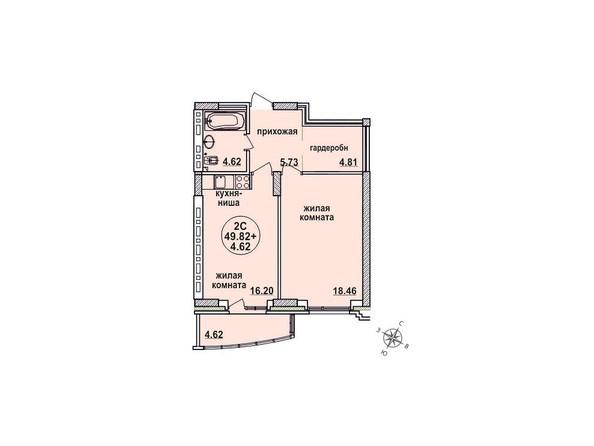 Планировки Жилой комплекс ЗАЕЛЬЦОВСКИЙ, 1 этап - Планировка двухкомнатной квартиры 49,82 кв.м