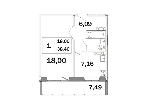 Планировки Жилой комплекс ЯСНЫЙ, дом 1 - Планировка однокомнатной квартиры 38,4 кв.м