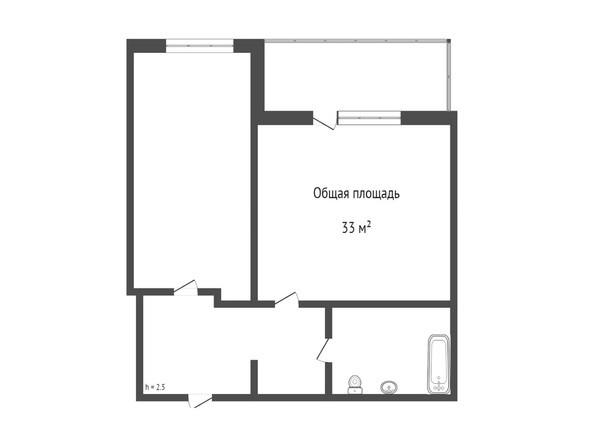 Планировка 1-комн 33 м²