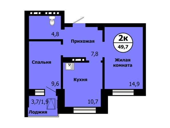 Планировка 2-комн 49,7 м²