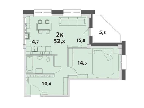2-комнатная 52.8; 52.9 кв.м
