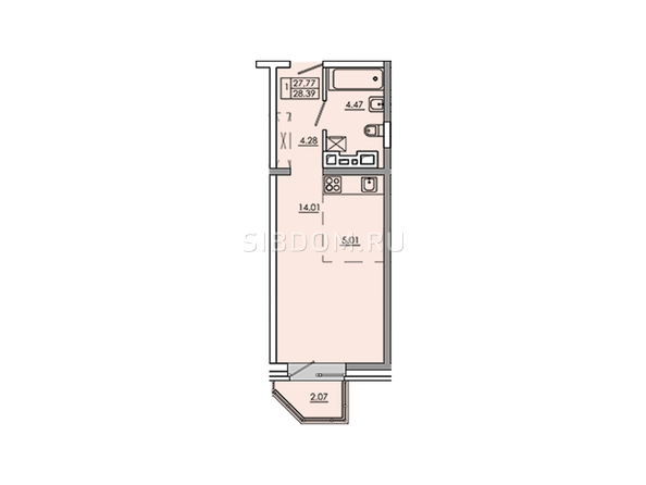 1-комнатная 29,84 кв.м