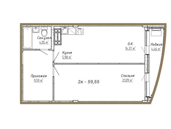 Планировки Жилой комплекс ДОМ НА СИБИРСКОЙ - Планировка двухкомнатной квартиры 59,55 кв.м