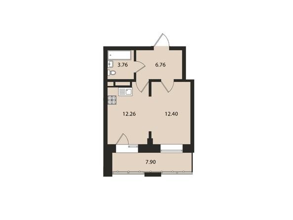 Планировки Жилой комплекс ВДОХНОВЕНИЕ - Планировка однокомнатной квартиры 43,1 кв.м