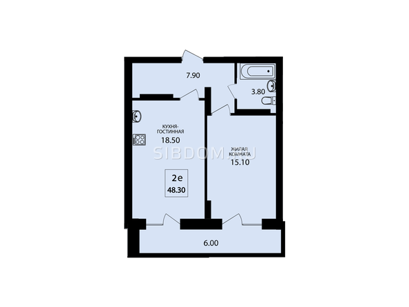 Планировки Жилой комплекс VIVANOVA (Виванова) - Планировка двухкомнатной квартиры 48,3 кв.м