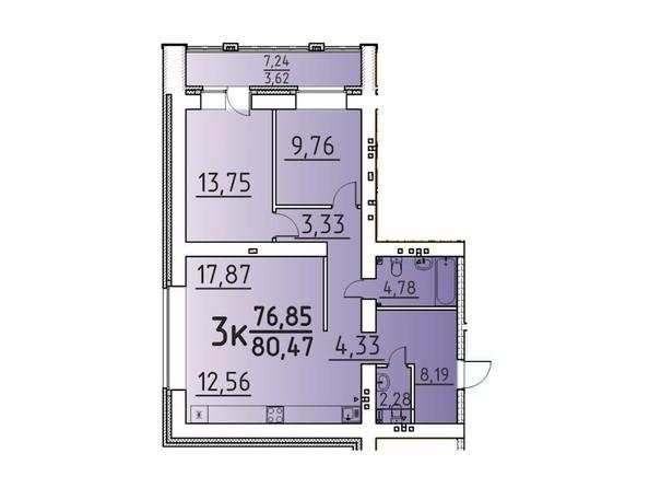 Планировка 3-комн 80,47 м²