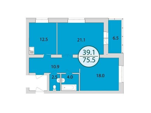 Планировки Жилой комплекс МАНХЕТТЕН, дом 8 - 2-комнатная 75,5 кв.м