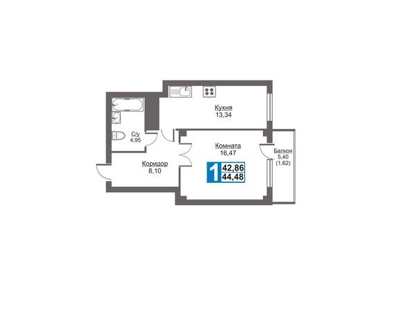 Планировки Жилой комплекс Калинина, 47б, дом 2 - Планировка однокомнатной квартиры 44,48 кв.м