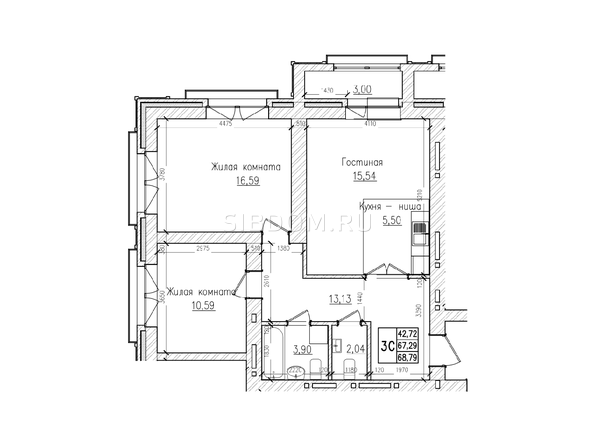 Планировки Жилой комплекс КРАСНЫЙ ПРОСПЕКТ, дом 4 - 3-комнатная 67,2 кв.м