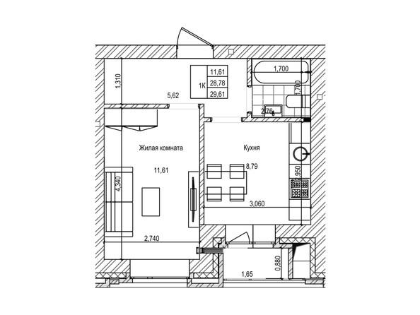 Планировка 1-комн 28,7, 28,9 м²